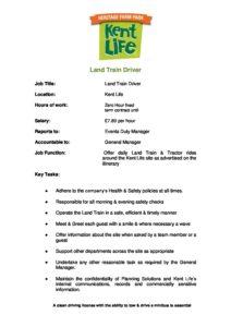 Kent Life Land Train Driver Job Description 2018 Kent Life